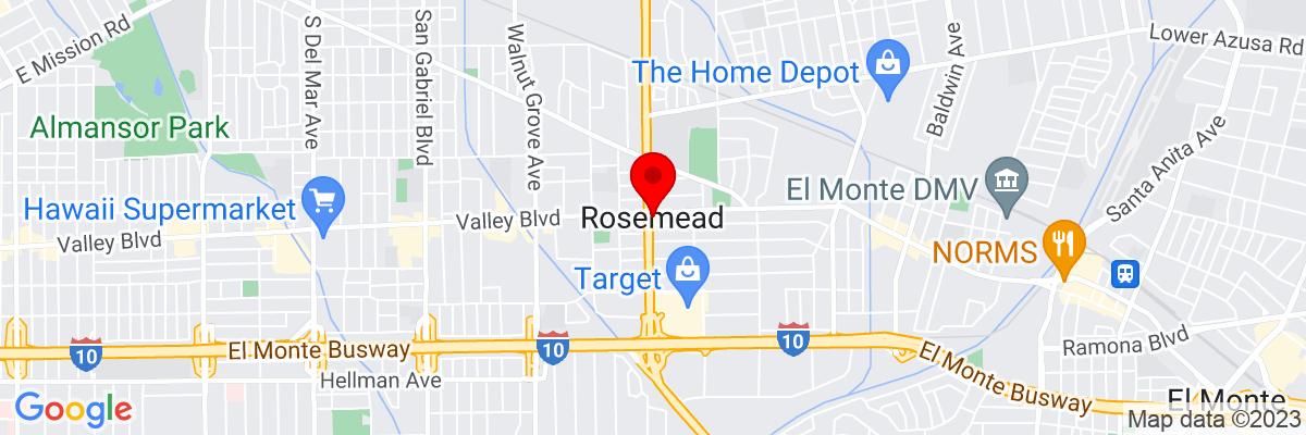 Google Map of 34.080565,-118.07284611111