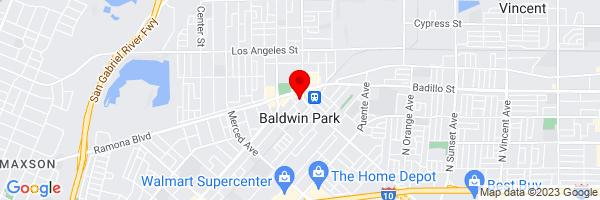 Google Map of 34.085286666667,-117.96089777778