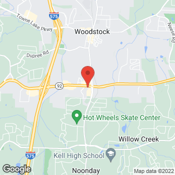 Map of Taco Bell at 10050 Highway 92, Woodstock, GA 30188
