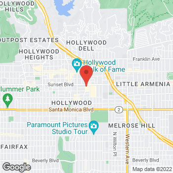 Map of Rite Aid at 6130 W Sunset Boulevard, Hollywood, CA 90028