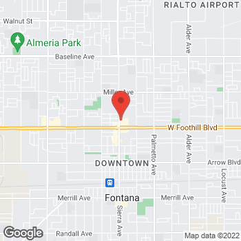 Map of Rite Aid at 16910 Foothill Boulevard, Fontana, CA 92335