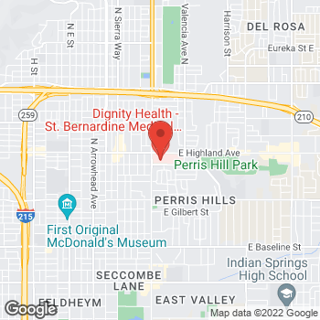 Map of ​Physical, Occupational & Speech Therapy Department - St. Bernardine Medical Center at 2101 N Waterman Ave, San Bernardino, CA 92404