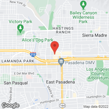 Map of Panera Bread at 3521 E Foothill Boulevard, Pasadena, CA 91107