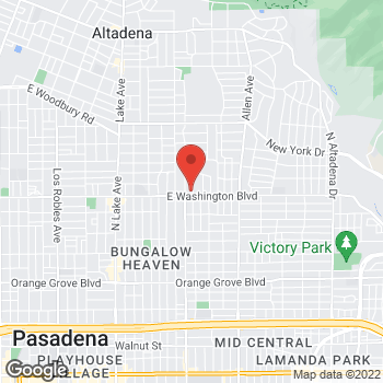 Map of Rite Aid at 1421 East Washington Blvd, Pasadena, CA 91104