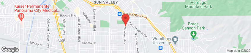 Map of 8022 Vineland Ave in Sun Valley