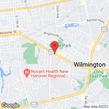 Map of Panera Bread at 3506 Oleander Drive, Wilmington, North Carolina 28403