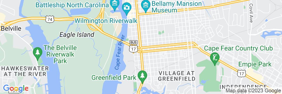Google Map of 34.225725555556,-77.944710277778