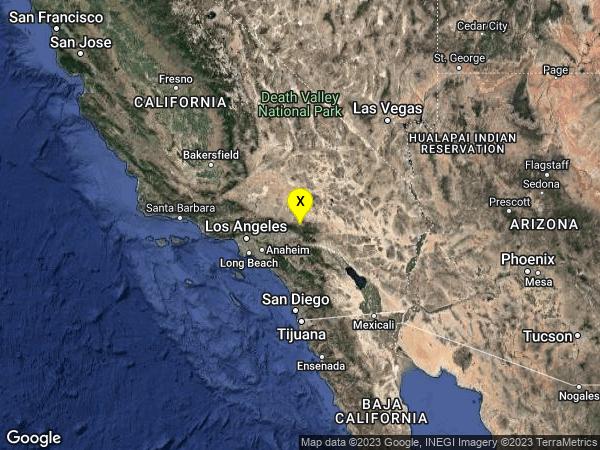 earthquake 10km NNE of Running Springs, CA