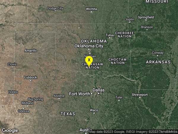 earthquake 5 km S of Ratliff City, Oklahoma