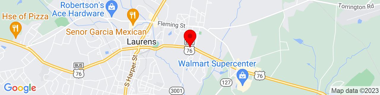 Google Map of 34.4989354, -81.9986696