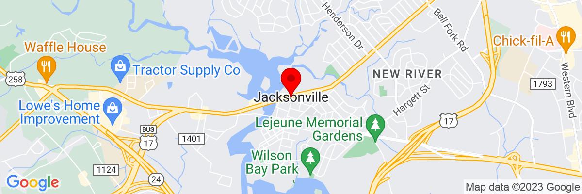 Google Map of 34.7540525,-77.430241388889