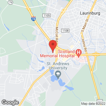 Map of Citi Trends at 1363 Scotland Crossing Dr, Laurinburg, NC 28352