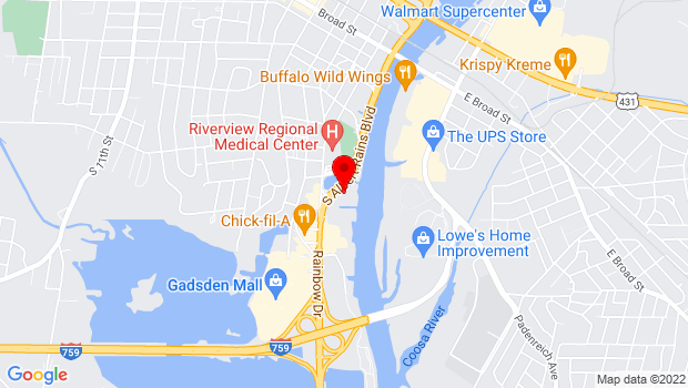 Google Map of 340 Albert Rains Blvd., Gadsden, AL 35901
