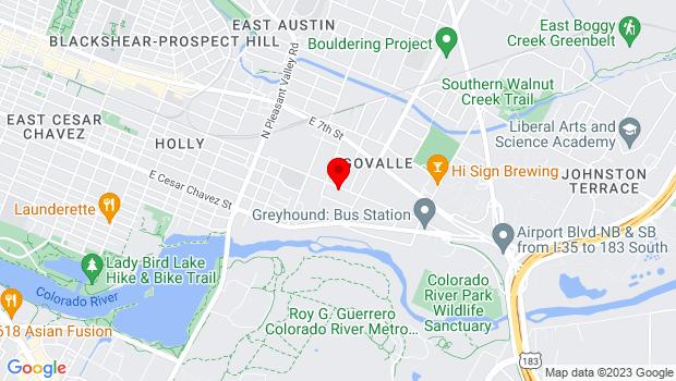 Google Map of 3411 East 5th St, Austin, TX 78702