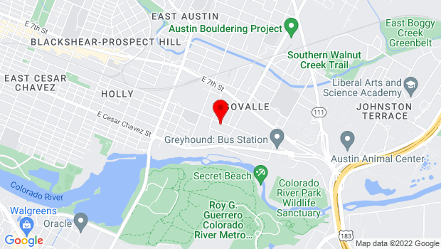 Google Map of 3411 East 5th St., Austin, TX 78702
