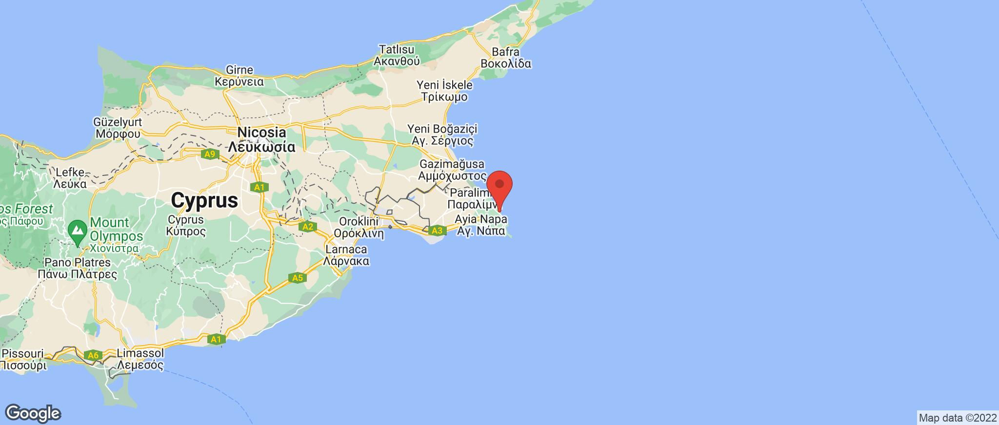 Map showing the location of Protaras