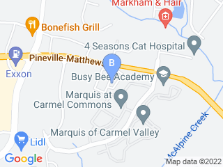 Map of Pet Sitters of Charlotte Dog Boarding options in Charlotte | Boarding