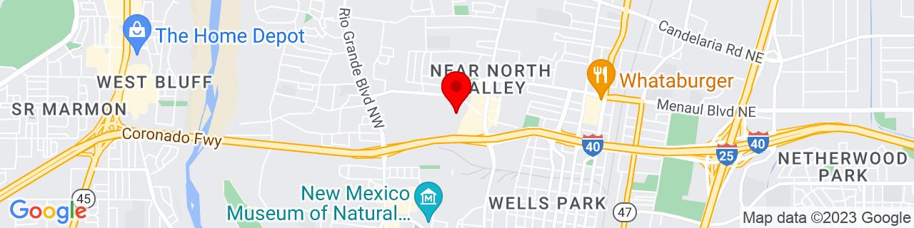 Google Map of 35.1087856, -106.6620374