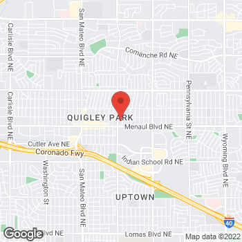 Map of Guitar Center at 6001 Menaul Boulevard Northeast, Albuquerque, NM 87110