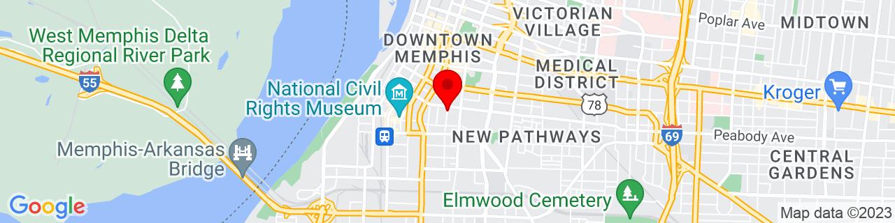 Google Map of 35.134948, -90.0516488