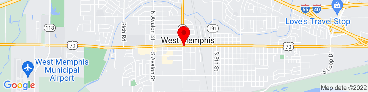 Google Map of 35.146388888888886, -90.18444444444445