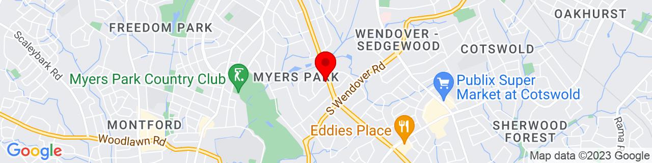 Google Map of 35.1803389, -80.81960699999999