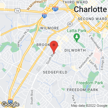 Map of Taco Bell at 2405 South Blvd, Charlotte, NC 28203
