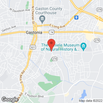 Map of Arby's at 345 E Garrison Blvd, Gastonia, NC 28054-0419