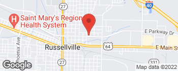 Map of 711 E Parkway Dr in Russellville