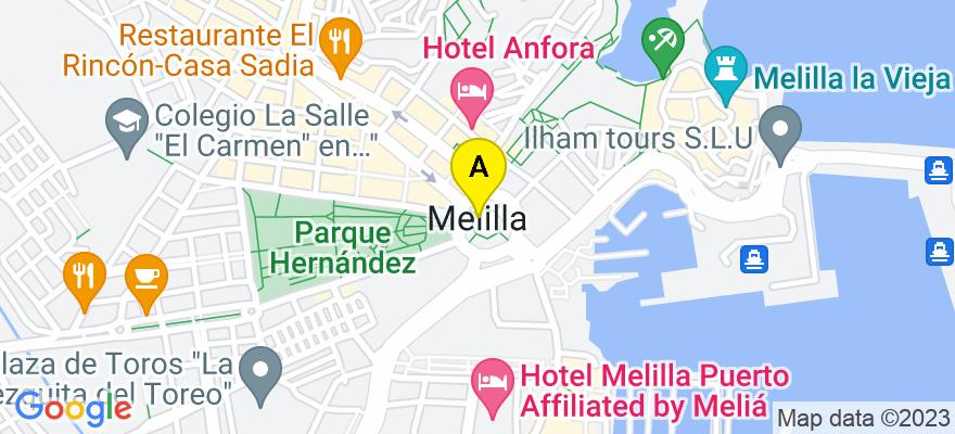 situacion en el mapa de . Direccion: C/ ALONSO MARTIN Nº 15, 1º DERRCHA, 52004 Melilla. Melilla
