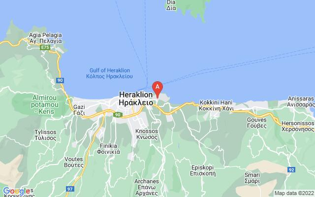 Google Map of HERAKLION AIRPORT N.KAZANTZAKIS