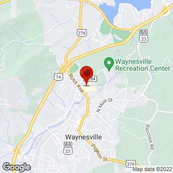 Map of Staples® Print & Marketing Services at 89 Waynesville Plaza, Waynesville, NC 28786