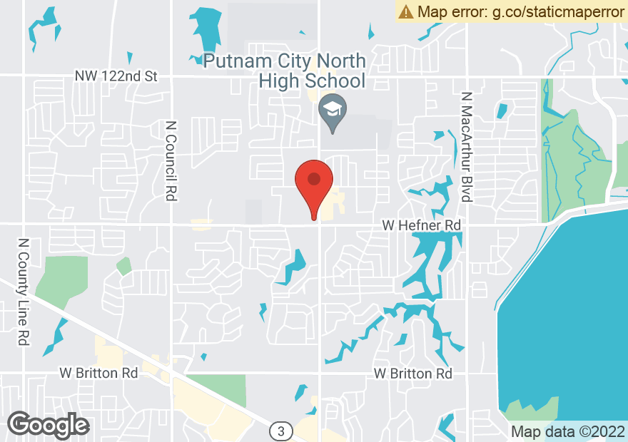 Google Map of 7101 W HEFNER RD