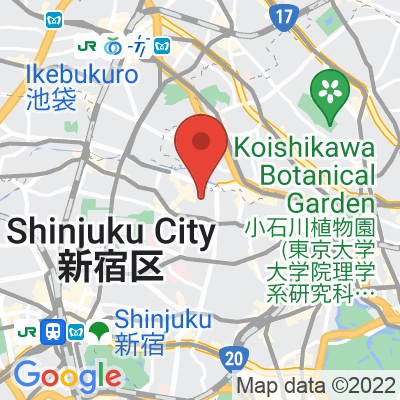 Map showing Mojo Coffee Waseda