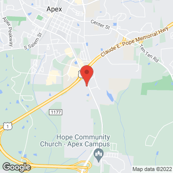 Map of Arby's at 1500 E Williams St, Apex, NC 27502
