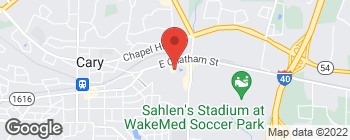 Map of 744 E Chatham St in Cary