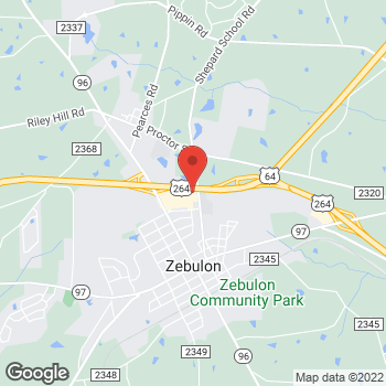 Map of Taco Bell at 161 Wakelon Drive, Zebulon, NC 27597