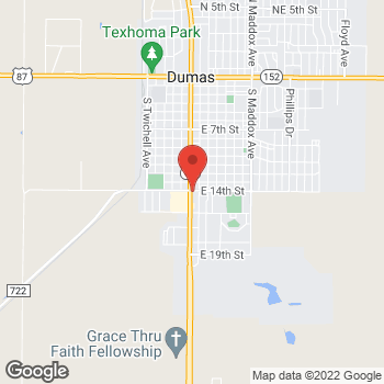 Map of Taco Bell at 1401 S Dumas, Dumas, TX 79029