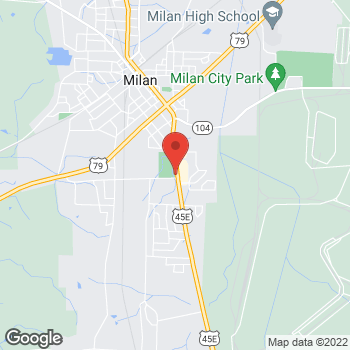 Map of Taco Bell at 6045 South First St, Milan, TN 38358