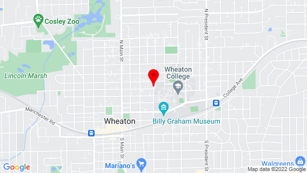Google Map of 351 East Lincoln, Wheaton, IL 60187
