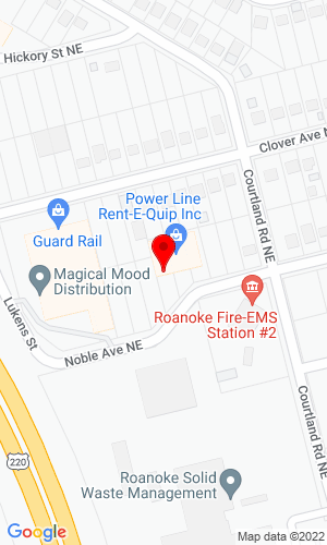 Google Map of Power Line Rent-E-Quip 36 Noble Avenue, Roanoke, VA, 24012