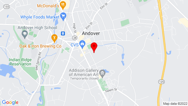 Google Map of 36 Bartlet Street, Andover, MA 01810