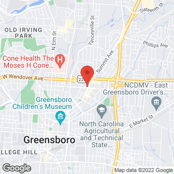 Map of Arby's at 1001 Summit Ave, Greensboro, NC 27405