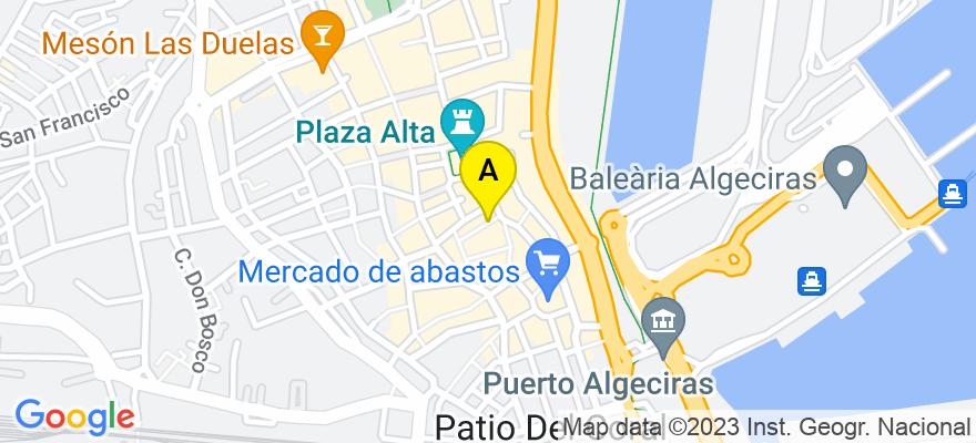 situacion en el mapa de . Direccion: C/ Bailén, nº 2, 1º A, 11201 Algeciras. Cádiz