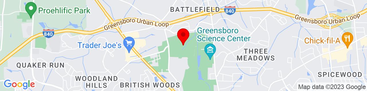 Google Map of 36.132999420166, -79.8414993286133