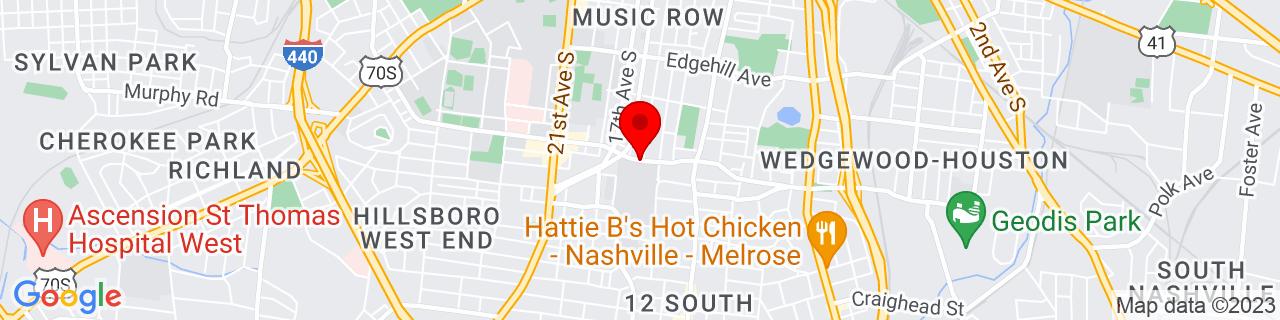 Google Map of 36.1361713, -86.7934992