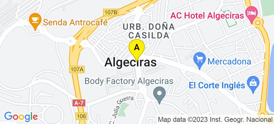 situacion en el mapa de . Direccion: C/ Alfonso XI, Núm.14, 1ª Planta, 11201 Algeciras. Cádiz