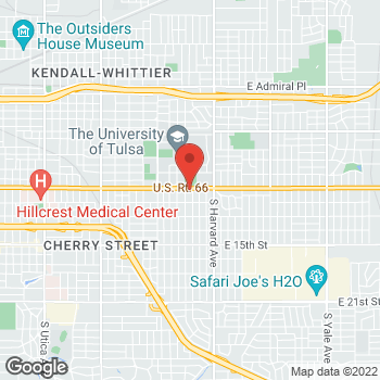 Map of Taco Bell at 3118 E 11th Street, Tulsa, OK 74104