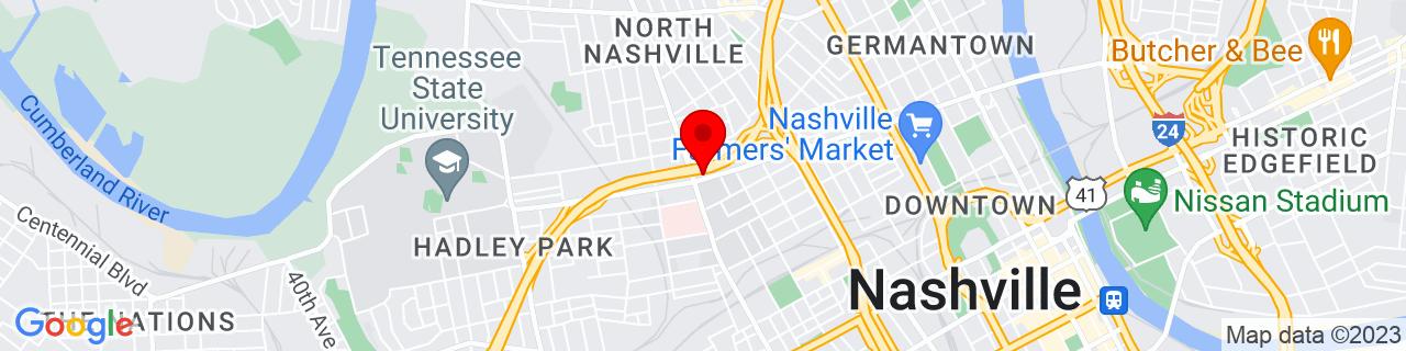 Google Map of 36.169908, -86.80587100000001