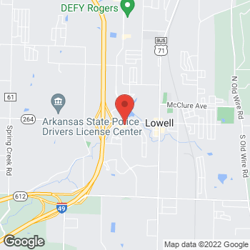 Map of Arby's at 111 S. Dixieland Street, Lowell, AR 72745